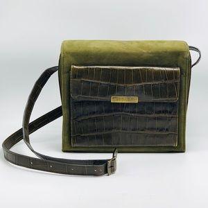 EUC Escada Green Suede & Croc Embossed Leather Bag